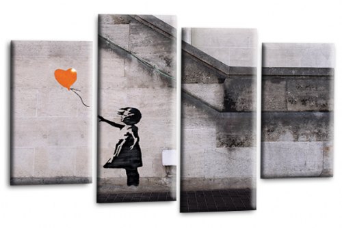 Banksy Art Balloon Girl Love Peace Orange Grey Canvas Print